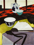 Still Life (The Grey Fan) Fine Art Print by Francis Campbell Boileau Cadell