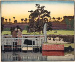 Canal Landscape with Two Figures Wall Art & Canvas Prints by Ian Cheyne