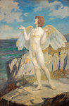 Angus Og, God of Love and Courtesy, Putting a Spell of Summer Calm on the Sea by John Duncan - print