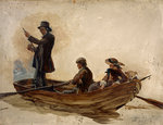 Rev. Thomas Guthrie, 1803 - 1873. Preacher and philanthropist (With his children, Patrick and Anne, fishing on Lochlee) Fine Art Print by unknown