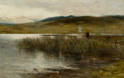 Loch Spynie with a figure wild fowling by Sir George Reid - print