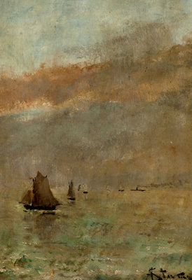 Fishing Boats at dusk by Alfred Stevens - print