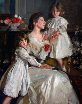 Alice Marjorie Cunningham with her daughters Marjorie and Millicent, 1902 by Harrington Mann - print