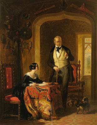 Sir Walter Scott Dictating to his Daughter, Anne, in the Armoury at Abbotsford 1844 Wall Art & Canvas Prints by William Allan