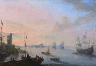 Coastal Scene with Sailing Ships and Rowing Boats Wall Art & Canvas Prints by Flemish School