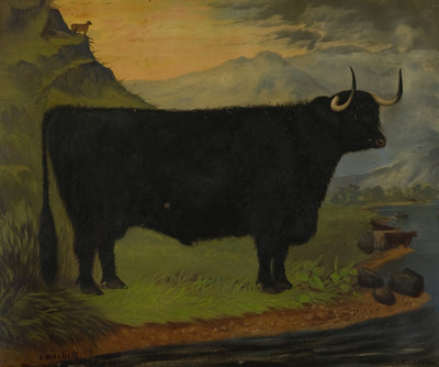 A Black Highland Bull in a Highland Landscape 1880 Postcards, Greetings Cards, Art Prints, Canvas, Framed Pictures, T-shirts & Wall Art by E. Mitchell