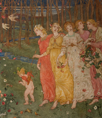 Cupid's Darts Fine Art Print by Phoebe Anna Traquair