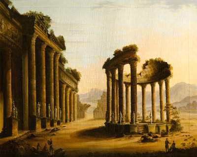 Classical Ruins with a Rotunda Wall Art & Canvas Prints by Scottish School