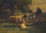 A Shepherd Boy and Sheep by Charles Emile Jacques - print
