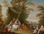 Fete Champetre: Music Party under an Awning by Jean-Antoine Watteau - print