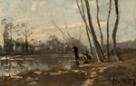 A wooded river landscape in winter by Josef Weiss - print