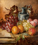 Fruit and a Wedgwood vase by A. M. Gautier - print