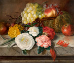 Flowers and fruit on a marble ledge, 1830 Poster Art Print by Margaret Ann Eden