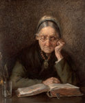 An Old Woman Reading by M. Knoop - print