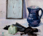 Still-life with blue jug, fan & apple by Francis Cadell - print