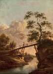 A Footbridge across a River, c.1800 by Alfred Stevens - print