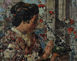 Japanese Woman by a Flowering Tree, c.1921-25 by Edward Atkinson Hornel - print