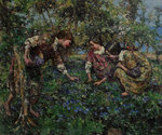 Girls Picking Blue Flax, 1917 by Edward Atkinson Hornel - print