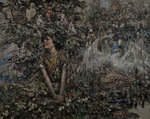 Girl with Nesting Swans by Edward Atkinson Hornel - print
