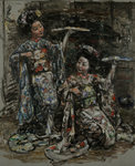 Two Japanese Girls, c.1921-25 by Edward Atkinson Hornel - print
