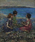 Wild Flax & Burnet Roses, 1932 by Edward Atkinson Hornel - print