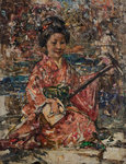 Japanese Musician, c.1921-25 by Edward Atkinson Hornel - print