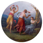 Three Dancing Figures with Cymbals and Drums by unknown - print