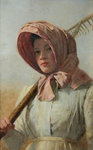 A girl with a rake over her shoulder, c.1900 by British School - print
