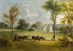 View of Drum Castle with Cattle by Scottish School - print
