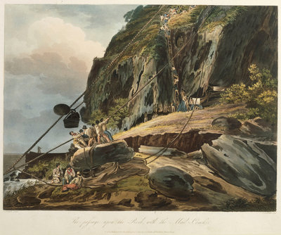 Picturesque views of the Diamond Rock: the passage upon the Rock, with the Mail-Coach by Joseph Constantine Stadler - print