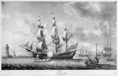 An outward bound East Indiaman sailing from the Downs by Robert Dodd - print