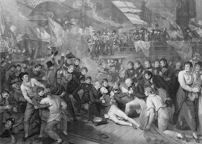 The death of Horatio Nelson on HMS 'Victory' during the Battle of Trafalgar, 1805 by James Heath - print