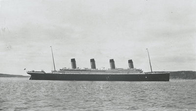 Passenger liner 'Titanic' (Br, 1912) Oceanic Steam Nav Co Ltd, (Ismay Imrie & Co Ltd, managers) (White Star Line): under way at Queenstown (now Cobh), Ireland by unknown - print