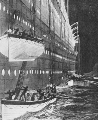 Starboard side of the 'Titanic' looking forward showing lifeboats leaving by Charles Dixon - print