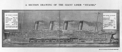 Section drawing of RMS 'Titanic' by unknown - print