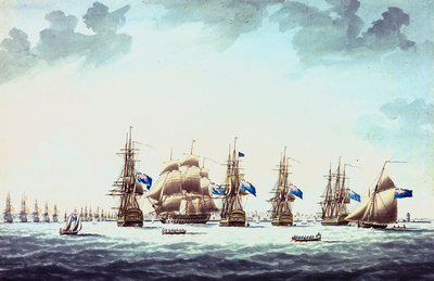 Cadiz, June 1797: the inshore blockading squadron coming to an anchor; 'Bellerophon', 'Orion', 'Theseus', 'Colos' and 'Irresistable' by Thomas Buttersworth - print