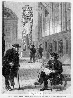 Greenwich pensioners in the Anson Ward, Greenwich Hospital, with figurehead of the old ship 'Centurion' by unknown - print