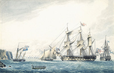 The 'Argo' with a Russian ship passing through the Straits, 1799 by Thomas Buttersworth - print