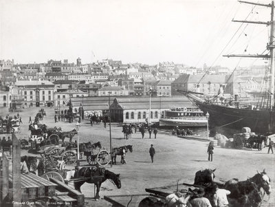 Circular Quay, Sydney, with the 'Cutty Sark' loading wool by unknown - print