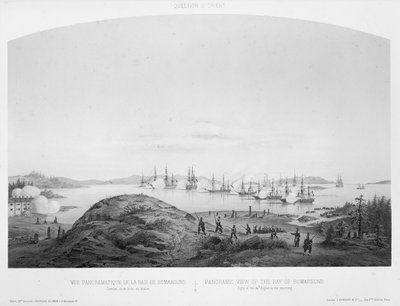 Panoramic view of the Bay of Bomarsund: fight of the 14 August 1854, in the morning by Louis Le Breton - print