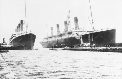 Passenger liner 'Titanic' (Br, 1912) Oceanic Steam Nav Co Ltd, (Ismay Imrie & Co Ltd, managers) (White Star Line): at Belfast with 'Olympic', tip of foremast out of picture by unknown - print