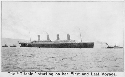 Passenger liner 'Titanic' (Br, 1912) Oceanic Steam Nav Co Ltd, (Ismay Imrie & Co Ltd, managers) (White Star Line): under tow leaving Belfast by unknown - print