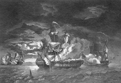 Defence of Captain Pearson in 'Serapis', 23 September 1779 by Robert Dodd - print