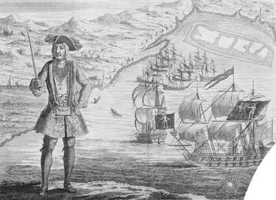 Captain Bartholomew Roberts, pirate, at Whydah by B. Cole - print