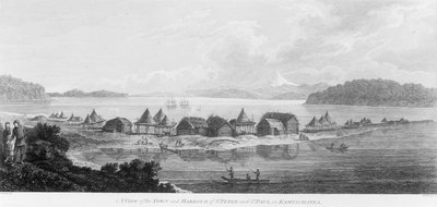 A view of the town and harbour of St Peter and St Paul in Kamtschatka by John Webber - print