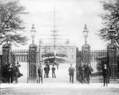 Entrance to Greenwich Hospital School with the drill ship 'Fame' and Queen's House beyond by unknown - print