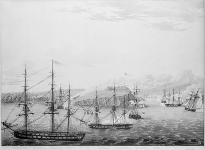 Attack on Fort Oswego, Lake Ontario, 6 May 1814 by Robert Havell - print