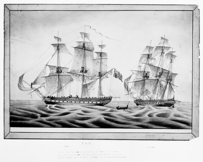 Capture of the French frigate 'Africaine' by the 'Phoebe', 1 November 1801 by Holt - print