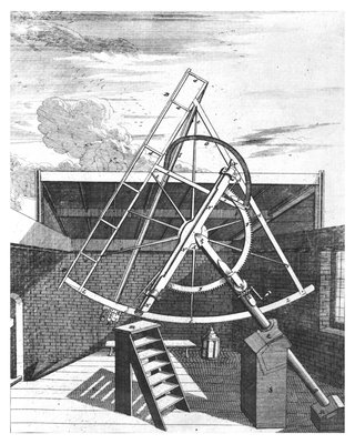 Flamsteed's 7-foot equatorial telescope by Edward Sylvester - print