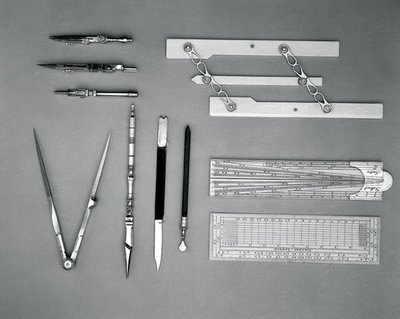 Drawing instrument set by Dollond - print